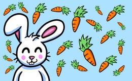 Pascua feliz Bunny Card With Falling Carrots libre illustration