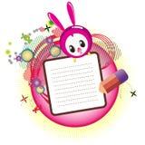Pascua feliz con el conejito principal lindo stock de ilustración