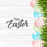 Pascua feliz con el fondo de los huevos ilustración del vector