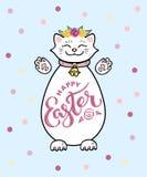 Pascua feliz con el gato blanco y las letras manuscritas Pascua