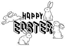 Pascua feliz con la l?nea linda dibujo del vector del arte, estilo exhausto de los conejos de conejito del minimalismo de la mano fotografía de archivo