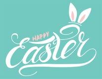 Pascua feliz con la tarjeta de letras manuscrita del oído de conejo
