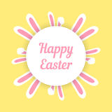 Pascua feliz con los oídos alrededor del círculo Foto de archivo libre de regalías