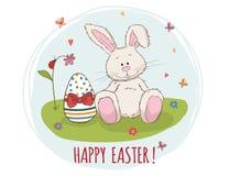¡Pascua feliz! Conejito y huevo de pascua en hierba Tarjeta de felicitación del vector