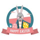 Pascua feliz Conejo de la historieta del logotipo con diversos huevos Foto de archivo