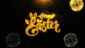 Pascua feliz desea la tarjeta de felicitaciones, invitación, fuego artificial de la celebración colocado