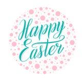 Pascua feliz Escritura del verde menta que pone letras en fondo manchado rosado polvoriento stock de ilustración