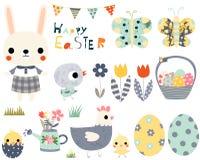 Pascua feliz fijada con los animales lindos Fotografía de archivo