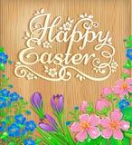 Pascua feliz florece la bandera de madera Fotografía de archivo libre de regalías