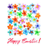 Pascua feliz - flores de la acuarela libre illustration
