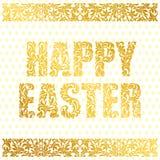 Pascua feliz Fuente decorativa de oro hecha de remolinos y de elementos florales en un fondo blanco con los huevos Frontera flora ilustración del vector