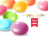 Pascua feliz, huevos realistas, ejemplo coloreado de la tarjeta de los huevos stock de ilustración
