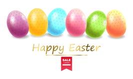 Pascua feliz, huevos realistas, ejemplo coloreado de la tarjeta de los huevos libre illustration