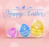 Pascua feliz: Ingenio de cristal del huevo de la transparencia colorida del brillo tres Imagen de archivo libre de regalías