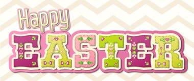 Pascua feliz, palabra adornada colorida, ejemplo stock de ilustración