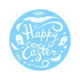 Pascua feliz que pone letras con los p?jaros, las hierbas y las plumas en el c?rculo aislado en el fondo blanco stock de ilustración