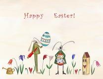 Pascua feliz Tarjeta de felicitación Imagenes de archivo