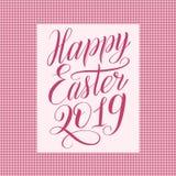 Pascua feliz 2019 Tarjeta de felicitación cuadrada con el ornamento del lunar libre illustration