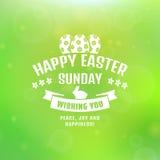 ¡Pascua feliz! Tarjeta del vector con el fondo borroso ilustración del vector