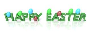 Pascua feliz: Texto con los huevos Imágenes de archivo libres de regalías