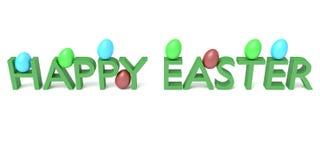 Pascua feliz: Texto con los huevos en un fondo blanco Imagen de archivo