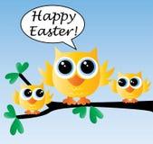 Pascua feliz tres pájaros lindos que se sientan en una rama ilustración del vector