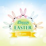 Pascua feliz a usted tarjeta de felicitación de la historieta del conejito Foto de archivo