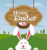 Pascua feliz y conejito sonriente ilustración del vector