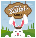 Pascua feliz y conejo sonriente stock de ilustración