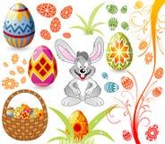 Pascua fijó con los huevos, conejo a libre illustration