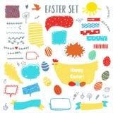 Pascua fijó con los huevos, el pollo, los marcos, las etiquetas y los elementos florales para el diseño Ilustración del vector stock de ilustración