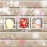 Pascua 3 huevos Cherry Flowers Wood de los marcos Fotos de archivo libres de regalías