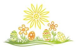 Pascua, huevos, prado