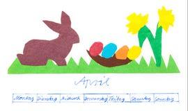 Pascua, imagen del calendario, abril Foto de archivo libre de regalías