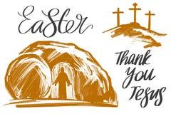 Pascua Jesus Christ subió de los muertos El domingo por la mañana amanecer La tumba vacía en el fondo de la crucifixión stock de ilustración