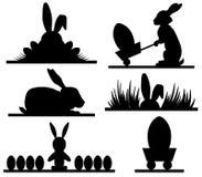 Pascua siluetea diseño con banny y los huevos stock de ilustración