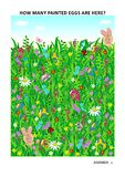 Pascua temática aprende la cuenta de rompecabezas visual de la matemáticas con los huevos y los conejitos pintados libre illustration