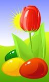 Pascua. Tulipán y huevos coloreados stock de ilustración