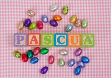 Pascua Word In Wooden Block Letters Stock Photos