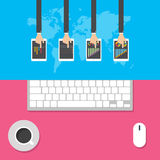 Płascy projektów pojęcia dla biznesu, globalnego rynku, targowego obliczenia, biurowej pracy, pojęć i ikon dla sieć sztandarów, w Fotografia Royalty Free