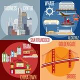 Płascy projektów wektory San Fransisco Kalifornia, usa Fotografia Stock