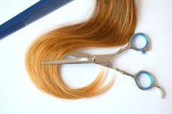 Pasemko włosy z nożycami i gręplą dla ostrzyżenia fotografia stock