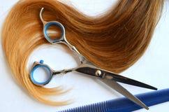 Pasemko włosy z nożycami i gręplą dla ostrzyżenia obraz stock