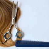 Pasemko włosy z nożycami i gręplą dla ostrzyżenia zdjęcia royalty free