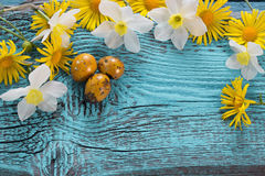 Pasen-achtergrond met bloemen Stock Afbeelding