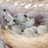 Pasen-achtergrond met decoratieve vogels en eieren in het nest Royalty-vrije Stock Foto