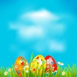 Pasen-achtergrond met eieren Stock Afbeelding