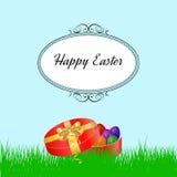 Pasen-achtergrond met gras en colorfull eieren Stock Foto