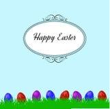 Pasen-achtergrond met gras en colorfull eieren Stock Afbeeldingen