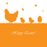 Pasen-achtergrond met kippen Stock Afbeelding
